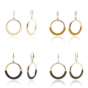 Half Edge Circular Point Earring_4color